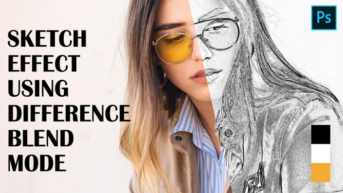 Difference Blend Mode – Sketch Outline Effect in Adobe Photoshop CC 2019